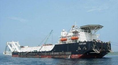 Das Rohrverlegungsschiff Fortuna verließ den Hafen von Mukran