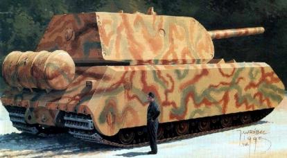 """탱크 """"마우스"""": 강력한 무기 """"Panzerwaffe-46""""또는 200 톤 """"손잡이없는 여행 가방"""""""