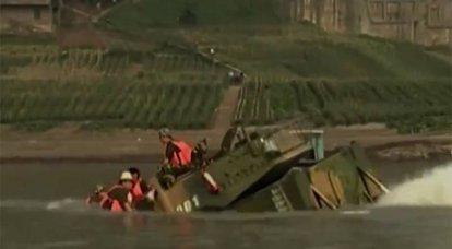 테스트 중 중국 경 수륙 전차가 익사 한 방법 : 비디오가 대만에서 리콜되었습니다.