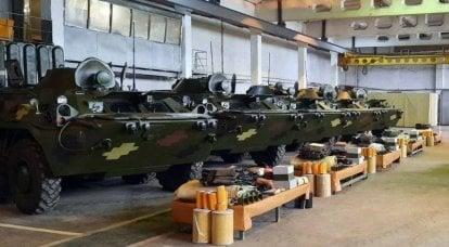 우크라이나 군대는 복원 된 BTR-80 장갑차 운반 대를 받았습니다.