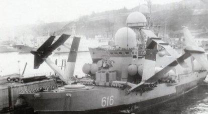 巨大な水中翼船を搭載した船。 MRKプロジェクト1240「ハリケーン」
