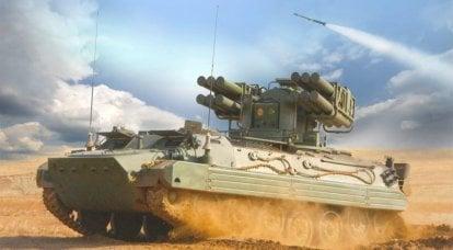 Versão com rodas do sistema de mísseis de defesa aérea Sosna