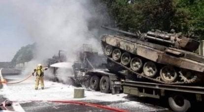 T-72戦車がポーランドでの輸送中に発火しました