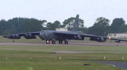 US Air Force B-52H Stratofortress makes an emergency landing at an air base in Britain