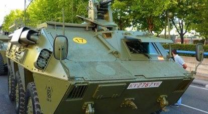 Sguardo spagnolo su un corazzato blindato su ruote. BTR BMR-600