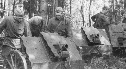 Cañones de infantería alemanes capturados en servicio en el Ejército Rojo.