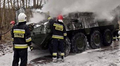 BTR Stryker, segundo regimiento de caballería del ejército estadounidense se incendió en Polonia