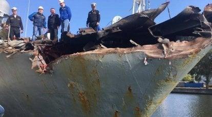 穴をあけられたMPKカザネッツはバルティスクで修理のために立ち上がった