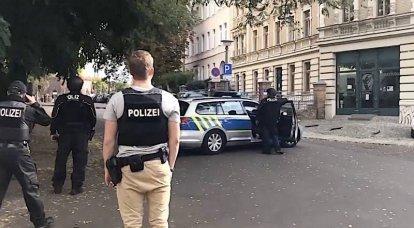 जर्मनी में, आराधनालय के पास एक शूटिंग थी