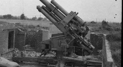 Uso de armas antiaéreas alemãs de 105 e 128 mm capturadas