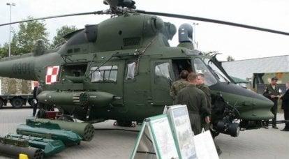 Helicóptero da Força Aérea Polonesa faz um pouso de emergência no campo