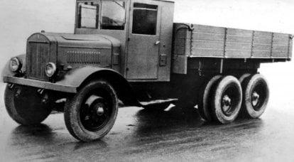 トラックYAG-10。 最初のソビエト三軸