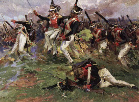 Н.С.Самокиш.  Лейб-гвардии Литовский полк в Бородинском сражении.