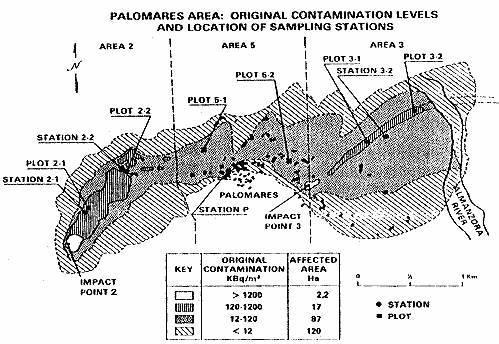 Карта радиоактивного заражения почвы в районе Паломарес и местонахождение регистрирующей аппаратуры.