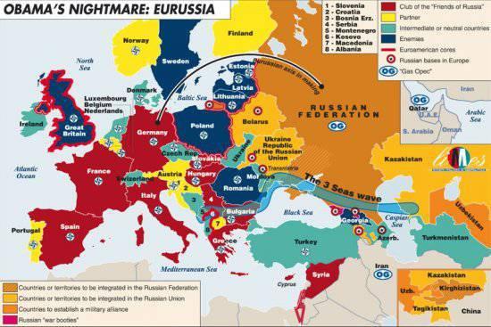 «Ночной кошмар Обамы» - опубликована карта друзей и врагов России