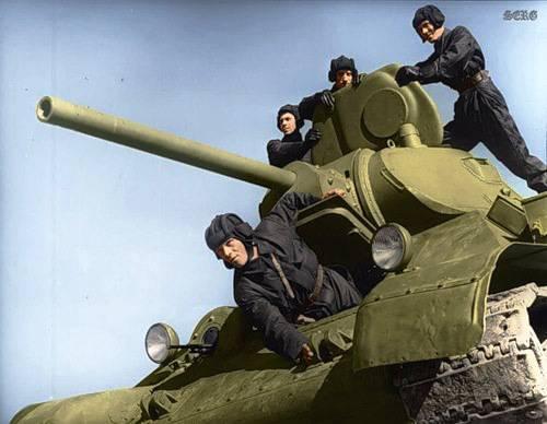 第二次世界大戦のソビエト兵士のカラー写真