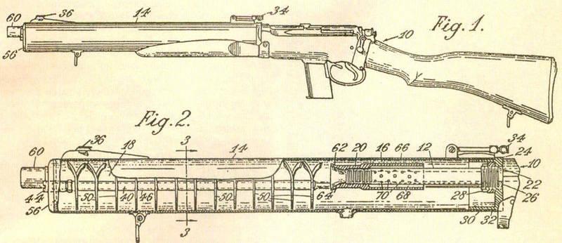 Чертеж глушителя с шайбами - завихрителями потока из американского патента 1909 года Хайрема Перси Максима.