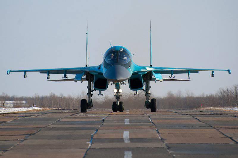 Су-34 б/н 01 взлетает с двумя