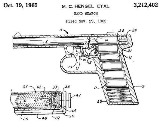 Схема из патента, иллюстрирующая устройство пистолета Gyrojet и его патронов-ракет.  13х50мм ракеты...