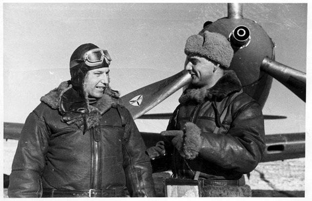 Alexander Pokryshkin and his fighter Bell P-39 Airacobra