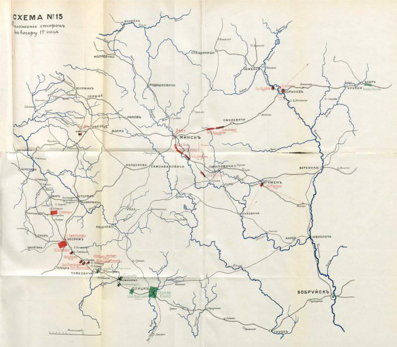 Положение сторон к вечеру 1 июля 1812 года.