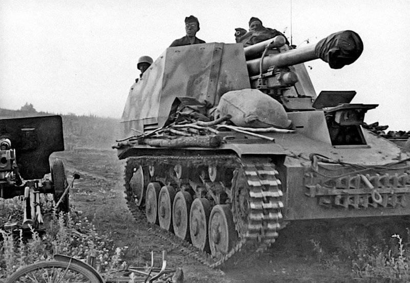 दूसरे विश्व युद्ध में जर्मनी के बख्तरबंद वाहन। स्व-चालित स्थापना Wespe Sd। KFZ। 124