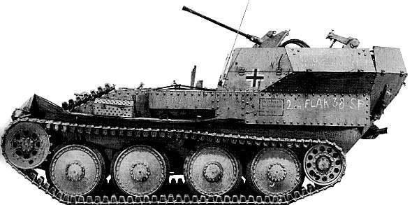 Зенитная самоходная установка Sd.Kfz.140 (Flakpanzer 38(t))