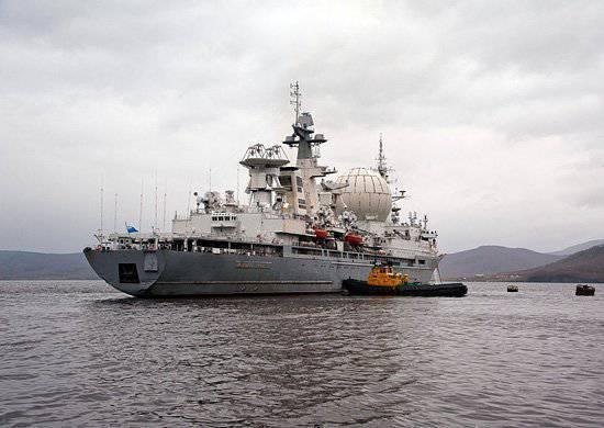 """El barco del complejo de medición """"Marshal Krylov"""" después de las reparaciones programadas se fue al mar"""