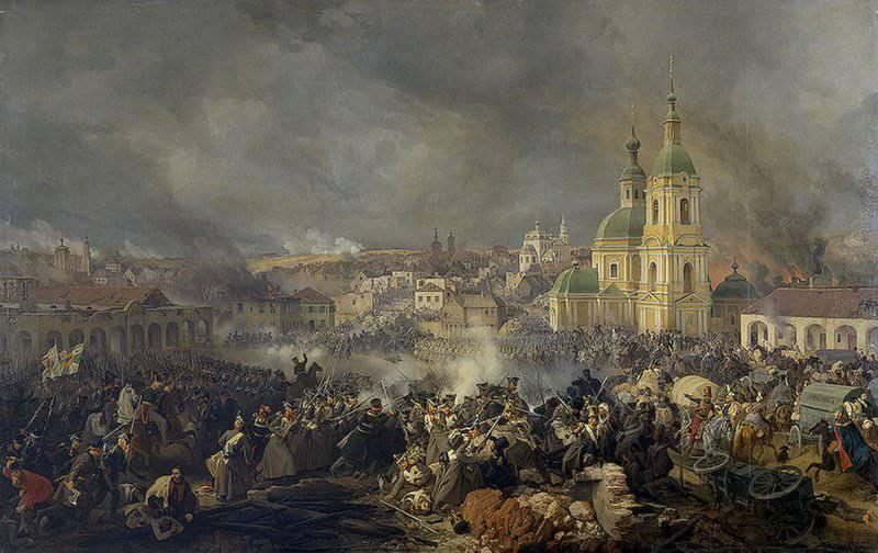 Retiro del ejército francés. Vyazemsky batalla de octubre 22 (noviembre 3) 1812 del año