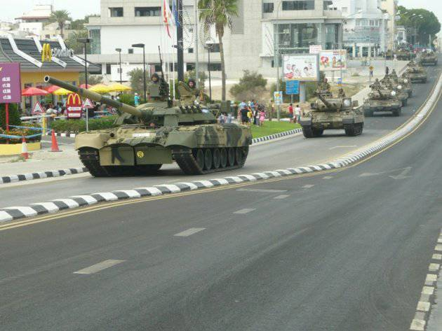 Omsk tanks at a military parade in honor of the Independence Day of Cyprus in October 2012