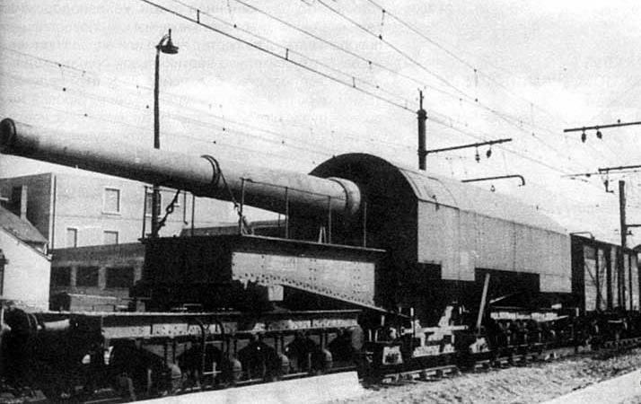 रेलवे ट्रांसपोर्टर पर बंदूक तान दी। फ्रेंच 274-mm तोपों M 1887 / 93 और M 1893 / 96