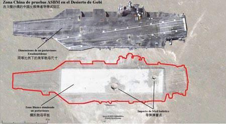 """चीनी सेना ने गोबी रेगिस्तान में एक बैलिस्टिक मिसाइल के परीक्षण के दौरान एक अमेरिकी विमान वाहक को सफलतापूर्वक """"डूब"""" दिया"""