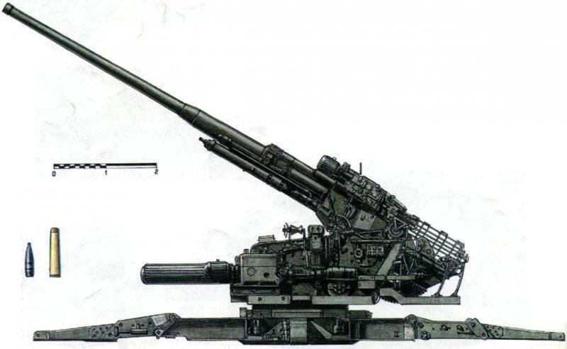 Советское 130-миллиметровое зенитное орудие КС-30 (1948 г.)