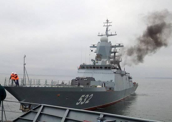 """समुद्री परीक्षण जारी रखने के लिए कार्वेट """"बॉयकी"""" बाल्टिस्क में पहुंचे"""