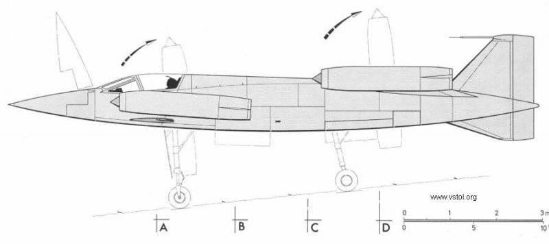 """Теперь двигатели были вынесены на концы крыльев и размещены в поворотных гондолах.  Общую схему самолета  """"утка """"..."""