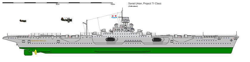 Проект 71 Одновременно с зарубежными конструкторами, наши трудились над проектом авианосца обычной схемы.