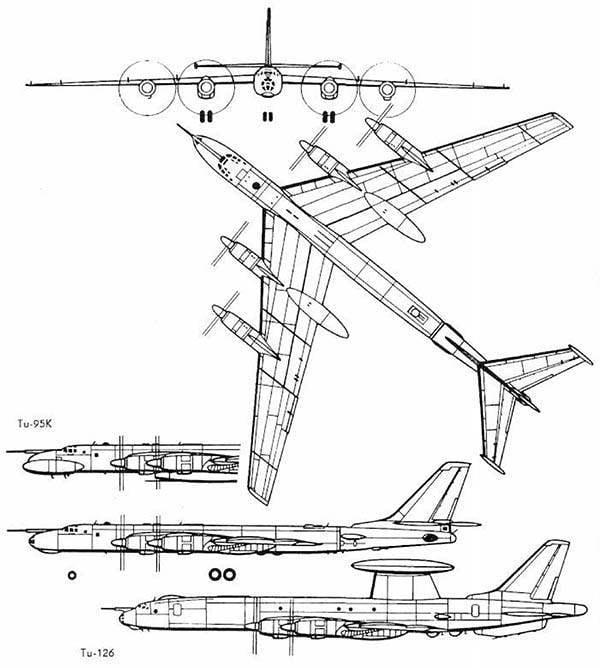 Схема бомбардировщика Ту-95