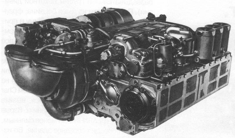 The five-cylinder two-stroke diesel engine forced (5TDF) of the T-64 tank with a power of 515 kW (700 hp)
