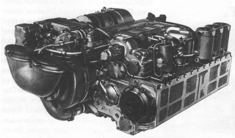 El motor diésel de dos cilindros y dos tiempos forzado (5TDF) del tanque T-64 con una potencia de 515 kW (700 hp)