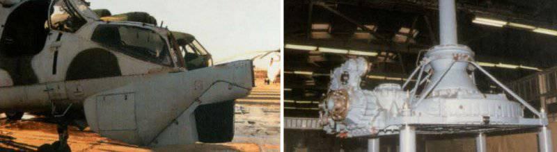 Летающая лаборатория Ми-24 для испытаний прицельного комплекса Ми-28 (слева).  Главный редуктор Ми-28. (справа) .