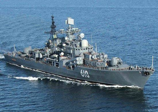 "The flagship of the Baltic Fleet squadron ""Persistent"" headed for Kronstadt to participate in the parade dedicated to the 310 anniversary of the fleet"