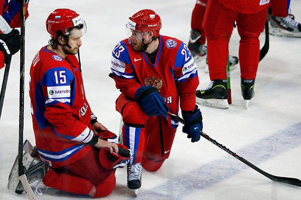 Stalin is not on them. Russian national hockey team crashed out of the World Cup