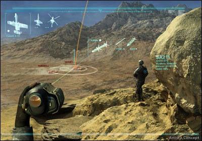 A interface do PCAS é como um videogame. A imagem é transmitida para o olho com uma ocular, o que significa que não precisa ser distraído do campo de batalha para olhar para a tela