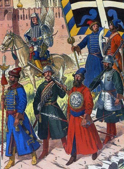 """사진에서 : 1 : 이반 폴 테프 (Ivan Poltev)의 모스크바 궁수들의 2- 주문의 시작. 1672. """"외국 시스템""""연대의 병사. XVII 세기 후반. 2.Moskovsky Pushkar와 """"alam"""". XVII 세기 후반. 3.Kopeyshchik 연대 """"외국 시스템."""" XVII 세기 후반. Sokolnik 볼쇼이 Gosudarev 연대. XVII 세기 후반. 이반 Naramansky 모스크바 궁수의 4 주문의 백 번째 배너 Strelets. 5, 6. 12의 모스크바 궁수의 Fyodor Aleksandrov 순서의 화살. 1674 (A.A. Kersnovsky, 러시아 군대사)"""