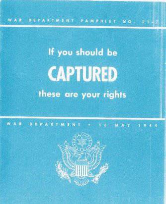 Instructions for American soldiers captured