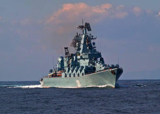 """흑해 함대 """"모스크바""""의 지휘 미사일 순양함은 지중해의 임무를 완료했습니다."""