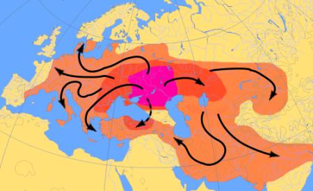 Экспансия ариев по гипотезе  Марии Гимбутас. Карта