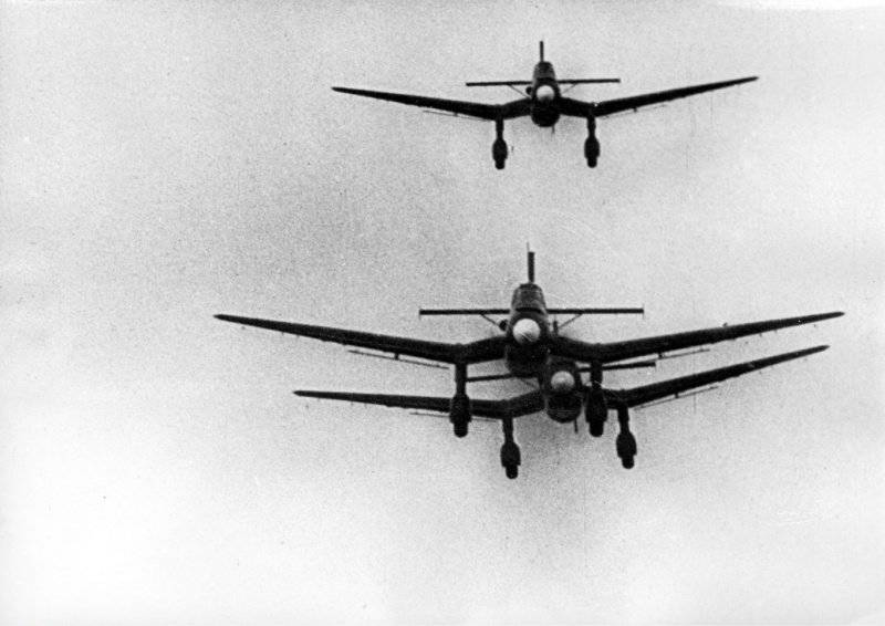 German Junkers U-87 (Ju-87) dive-bombers in the sky of Poland.