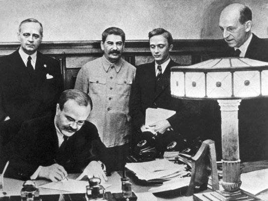 Soviet-German non-aggression pact of 23 August 1939. Part of 3