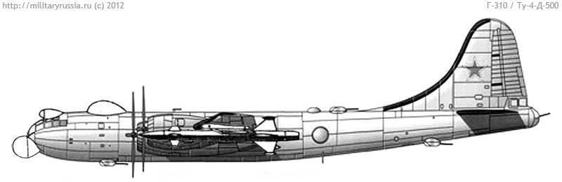 Interceptor de defesa aérea super pesado Tu-4 D-500, complexo G-310